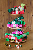 Handmade Advent calendar of paper crackers