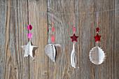 Handmade Christmas decorations made from sheet music