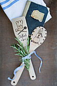 Wooden spoons customised with poker work