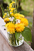 Spring posy of dandelions, buttercups, lady's smock, and cleavers