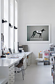 Photo of greyhound and long desk in white studio