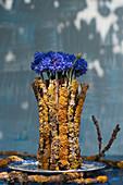 Ungewöhnlicher Stehstrauß mit Kornblumen in flechtenbewachsenen Zweigen