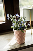 Posy of forget-me-nots in pink beaker
