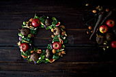 Christmas wreath of apples and vegetables