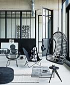 Black-and-white loft apartment