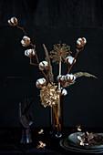 Dried-flower arrangement of cotton bolls, hydrangea, allium