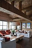 Classic living room in elegant log cabin