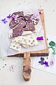 White and dark handmade violet chocolate