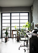 Antique desk and classic chair surrounded by houseplants