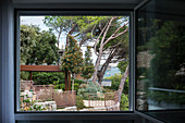 Open window with view of garden