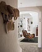 Upholstered armchair and sunhats farmhouse