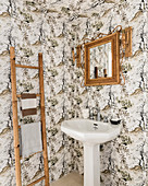 Bamboo mirror and ladder with washbasin in Luberon farmhouse
