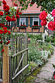 Roses at the open garden gate and a view of the farmhouse and farm garden