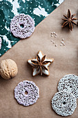 Cinnamon star biscuit with star anise, sugar ring biscuits and walnut