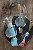 Handmade Easter crackers with bunny ears