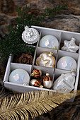 Vintage-style Christmas tree baubles in divided box