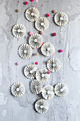 Paper rosettes made from book pages