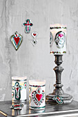 Handmade votive gifts decorated with silver embossed foil