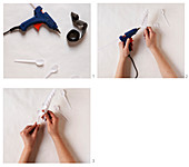 Instructions for making a wreath of plastic spoons
