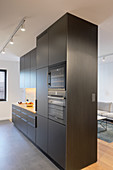 Modern, black kitchen cabinets used as partition in open-plan interior