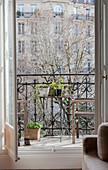 View through open doors onto balcony
