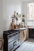 Gas cooker and shelf in kitchen