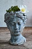 Blumentopf in Kopf-Form mit Moos und einer Christrose