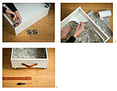 Making a bed drawer by adding castors and leather handle to a drawer