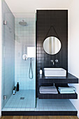 Small bathroom with narrow shower area and black tiles