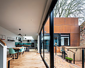 Modern, architect-designed house with corten steel façade and open-plan interior