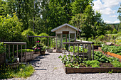 Vegetable beds and gravel path in garden