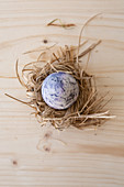 Easter egg coloured using natural dyes in straw nest