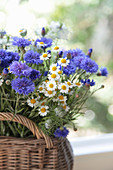 Basket of chamomile and cornflowers