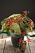 Bouquet of trachelium, rose hips and ornamental cabbage