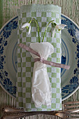 Checked napkin and snowdrop on blue-and-white plate
