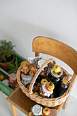 Basket of preserving jars and apples