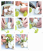 Instructions for making Easter arrangement of eggs and spring flowers