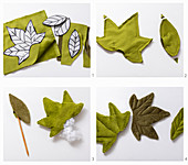 Instructions for making green, quilted, corduroy leaf decorations