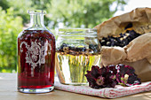 Homemade hollyhock wine