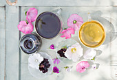 Mallow tincture, hollyhock flower tea and marshmallow tea