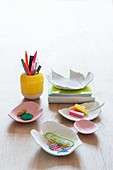 DIY leaf-shaped dishes made from modelling clay
