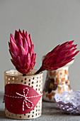 Protea-Blüten in verziertem Glas