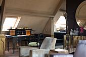 Antique desk below skylight