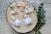 Angels handmade from bark, wooden pegs, wooden beads and feathers