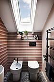 A bidet and toilet in an attic bathroom