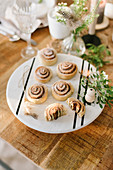 Yeast rolls on a laid Easter table
