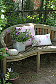 Cushions, potted petunias and ornamental squash on garden bench