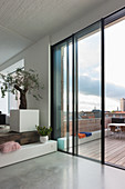View from split-level living room onto roof terrace