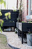 Black raised beds on gravel area in back garden