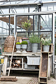 A potting table at a green house